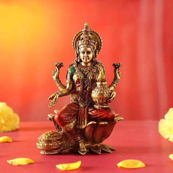 Laxmi Mata idol in Rustic Gold Finish
