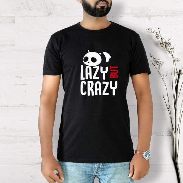 Lazy But Crazy Half Sleeve Men's T-Shirt - Black