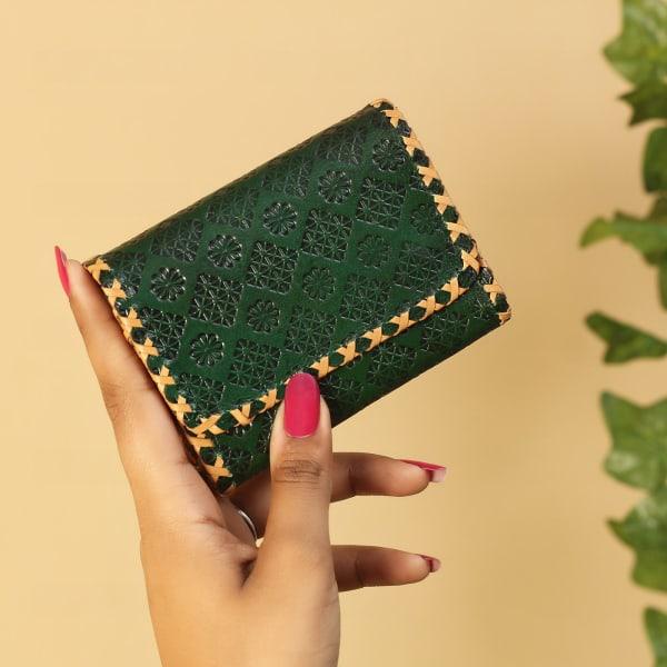 Leaf Green Floral Embossed Leather Wallet