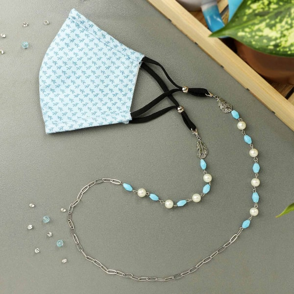 Leafy Cotton 3-Ply Mask with Beads Mask Chain