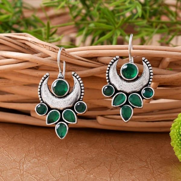 Leafy Moon Green Stone Earrings