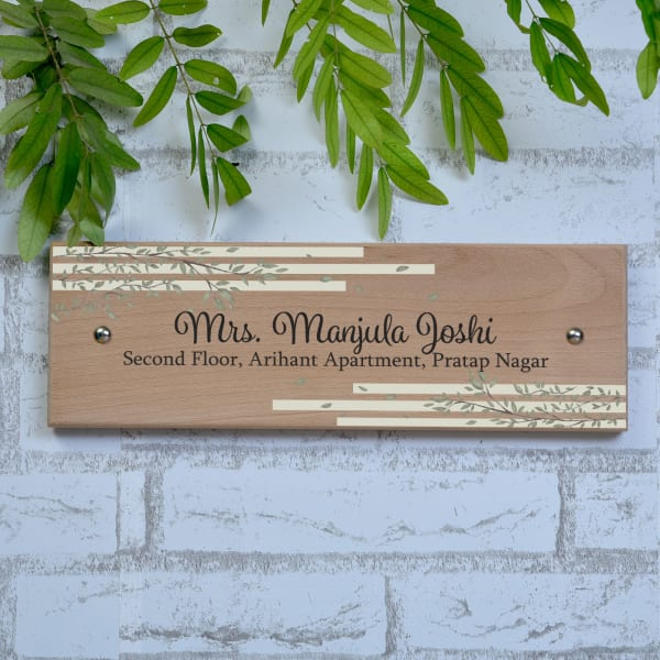 Leaves Design Wooden Name Plate