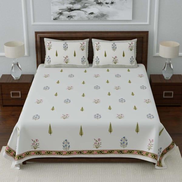 Leaves & Floral Printed Designer Double Bedsheet