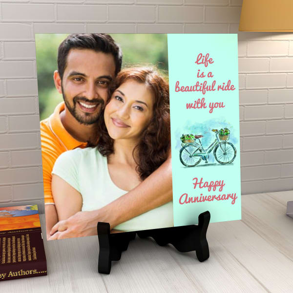 Life is a beautiful ride with you Personalized Anniversary Tile