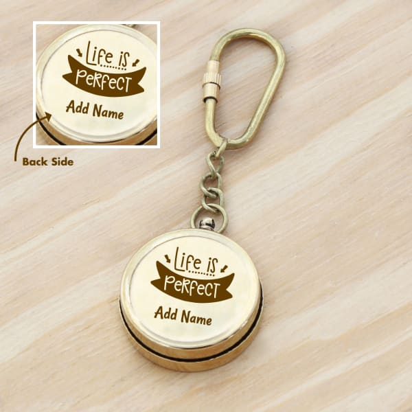 Life is Perfect Personalized Brass Compass Key Chain