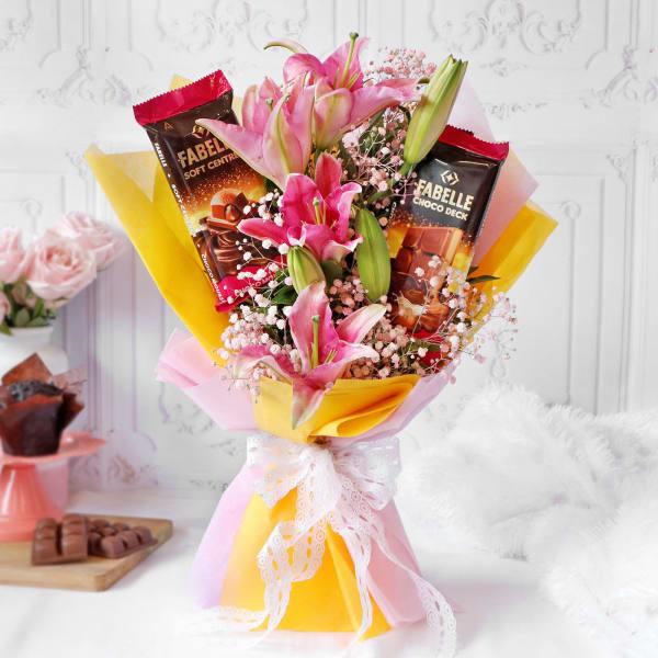 Lilies & Premium Chocolate Bar Bouquet