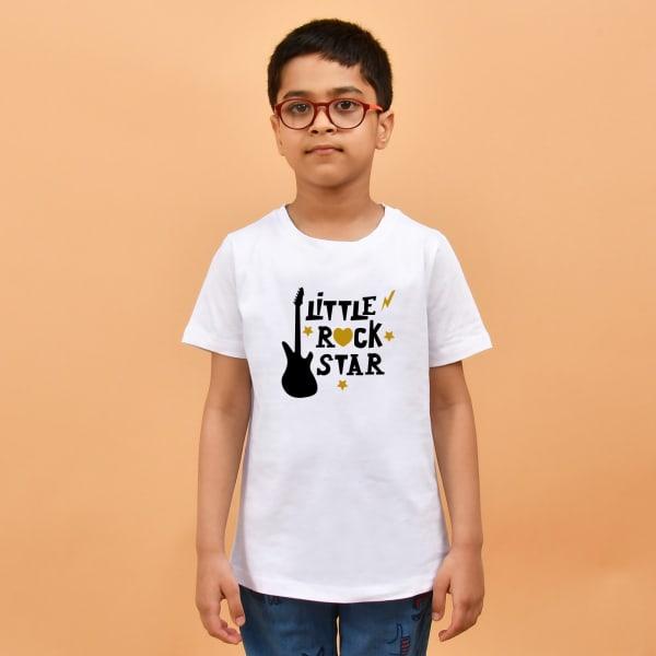 Little Rock Star White T-Shirt for Boys