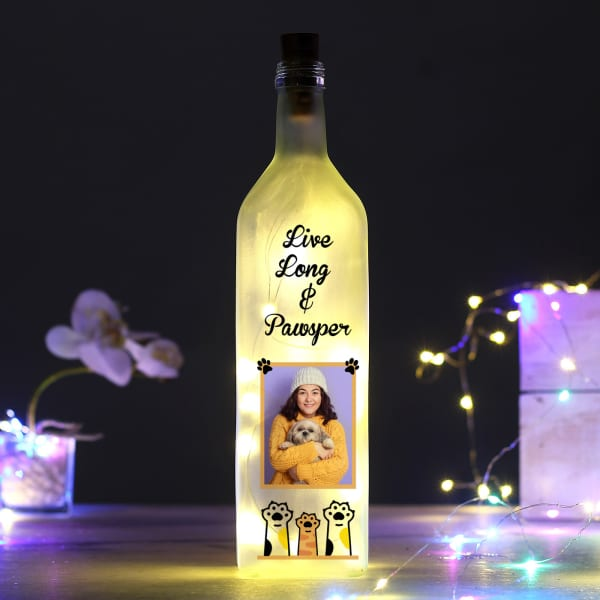 Live Long Pawsper Personalized Yellow LED Bottle