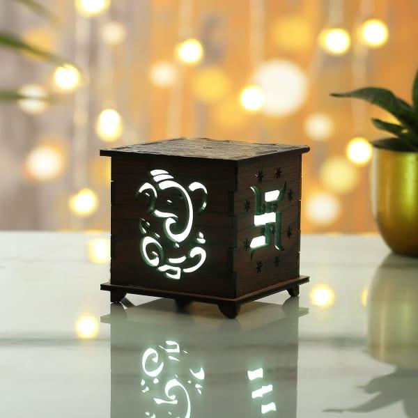 Lord Ganesha Carved Designer LED Lamp