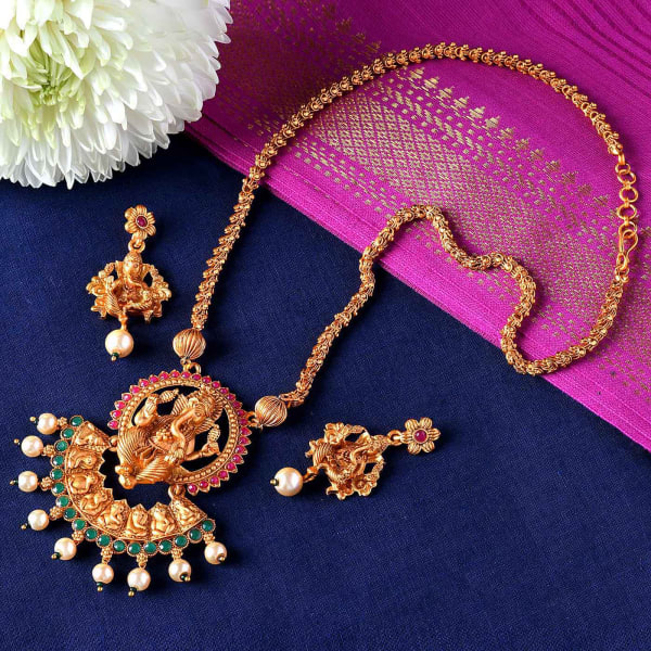 Lord Ganesha Design Temple Jewellery Set