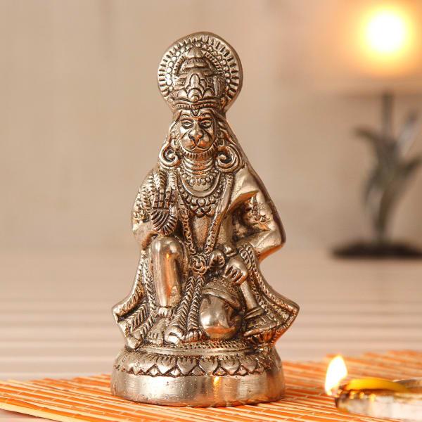 Lord Hanuman Idol in White Metal