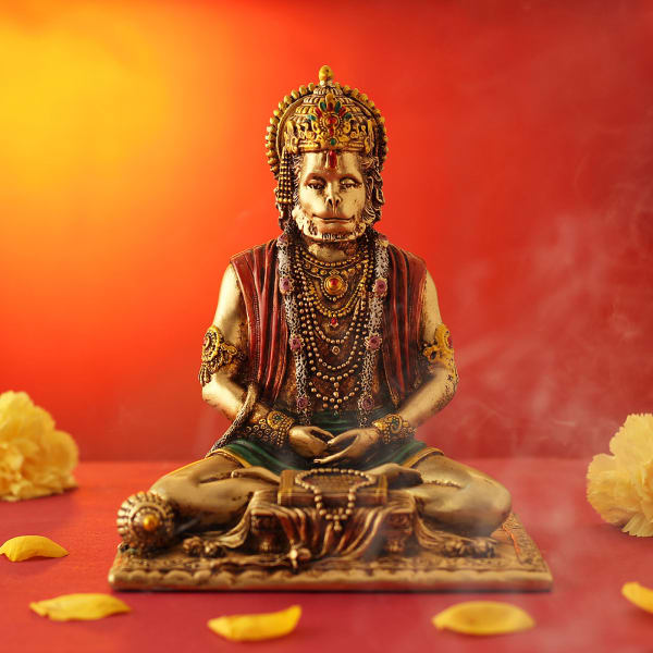 Lord Hanuman Statue in Sitting Posture (Gold Finish )