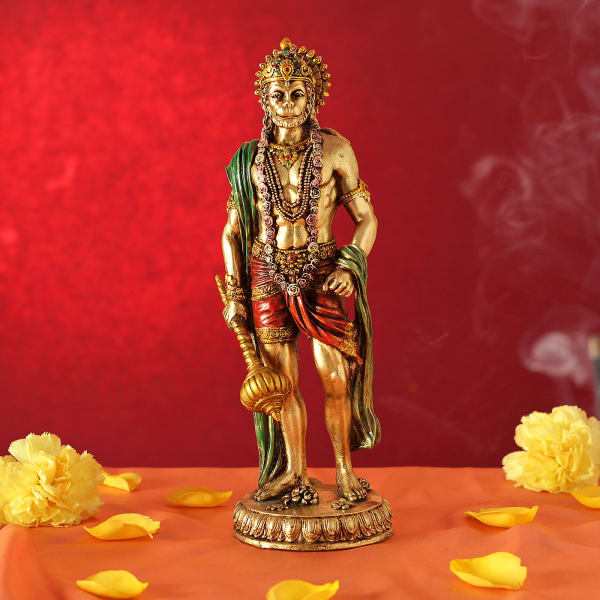 Lord Hanuman Statue in Standing Posture (Gold Finish)