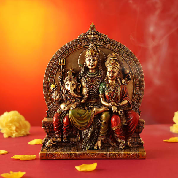Lord Shiva Pariwar Idol in Rustic Gold Finish