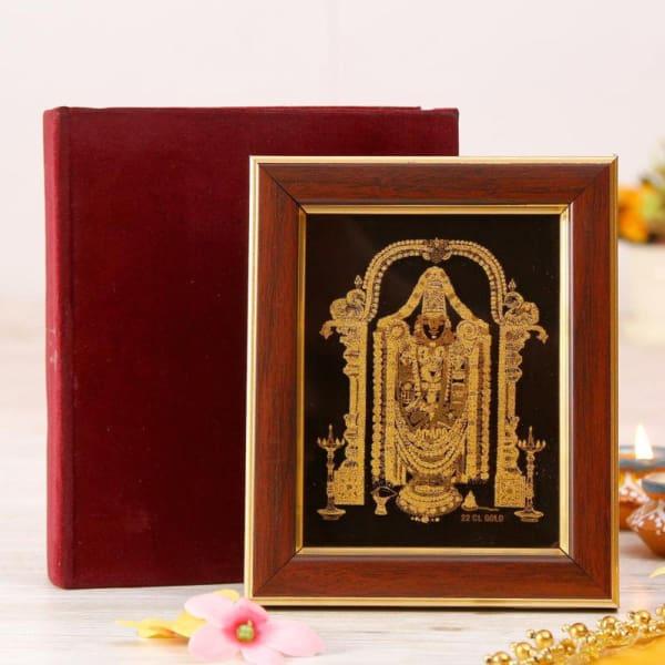 Lord Tirupati Balaji Wall Art in a Wooden Frame: Gift/Send Home and