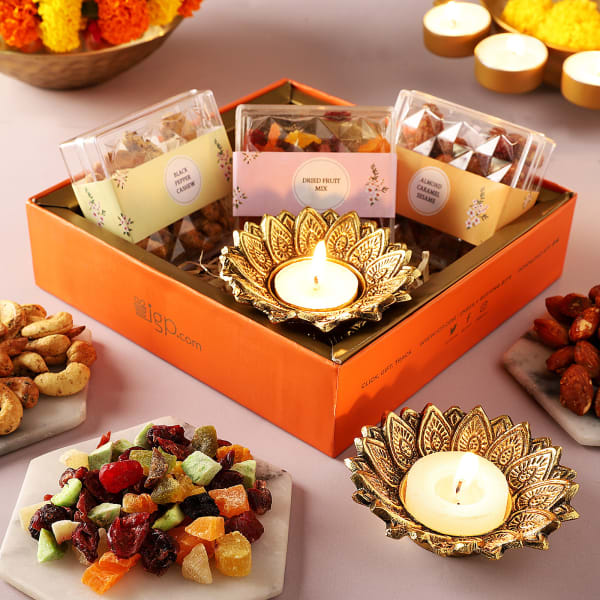 Lotus T-Light Holders And Flavoured Dry Fruits Gift Box