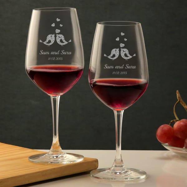 Love Birds Personalized Wine Bordeaux Glass