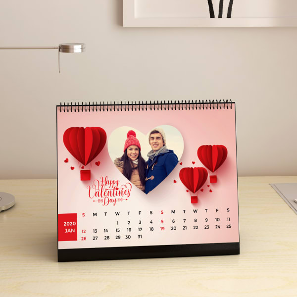 Love is in The Air Personalized Valentine Desk Calendar