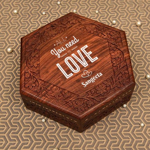 Love Personalized Handcrafted Sheesham Wood Jewellery Box