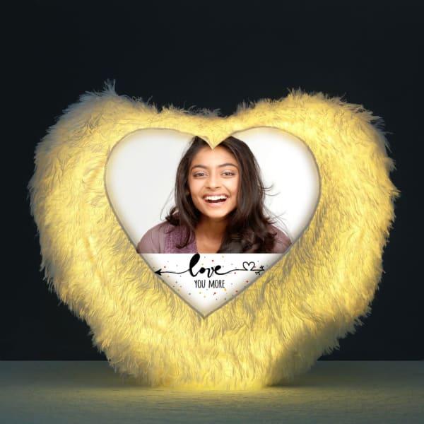 Love Personalized LED Heart-shaped Fur Cushion