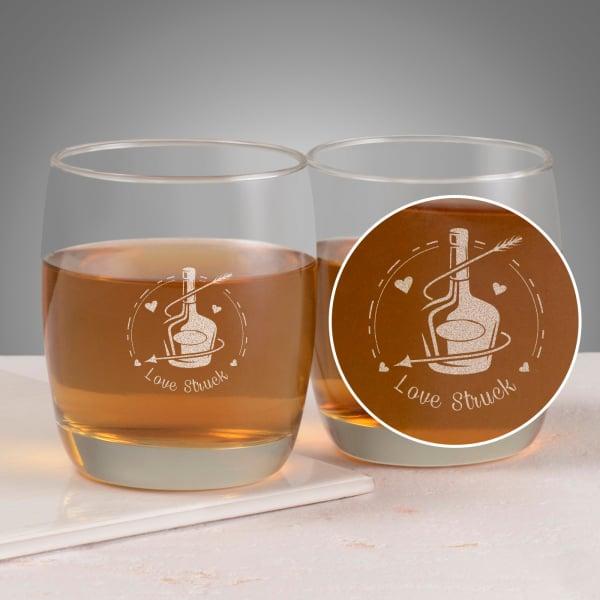 Love-struck Set of Two Whiskey Glasses