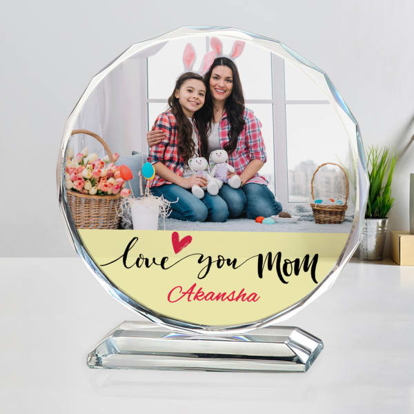 Love You Mom Personalized Round Crystal
