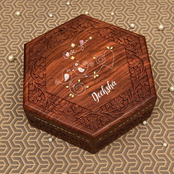 Love You Personalized Handcrafted Sheesham Wood Jewellery Box