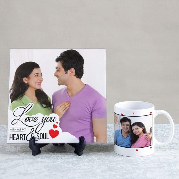 Love You Personalized Tile & Mug Hamper