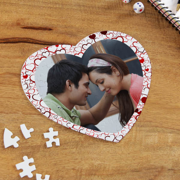 Love You to Bits Personalized Paper Heart Shaped Puzzle