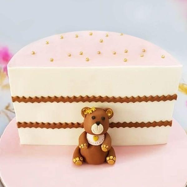 Lovely Teddy Half Year Kids Birthday Cake (Half Kg)