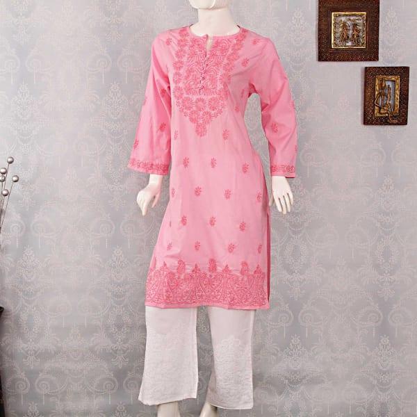 Lucknowi Chikan Embroidery Kurti With Palazzo Gift Send Fashion