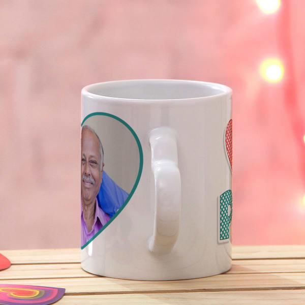 Luv You Papa Personalized Heart Handle Mug: Gift/Send