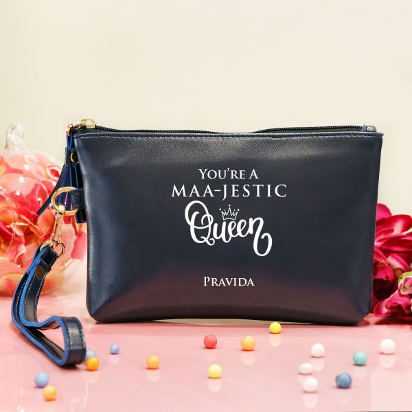 Maa-jestic Queen Personalized Women's Makeup Pouch for Mom
