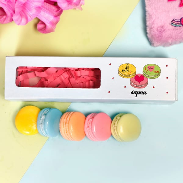 Macaron Shaped Soaps in Personalized Love Themed Gift Box (Set of 5)