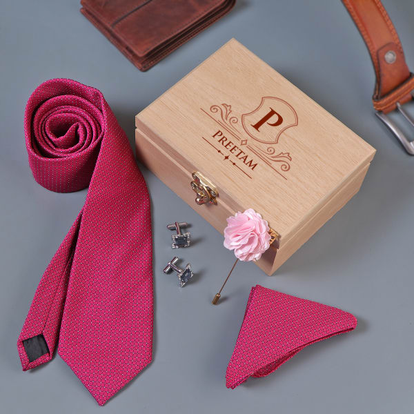 Magenta Men's Accessory Set In Personalized Wooden Box