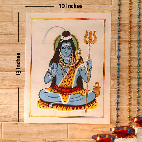 Mahadeva Gold Idol Silk Painting