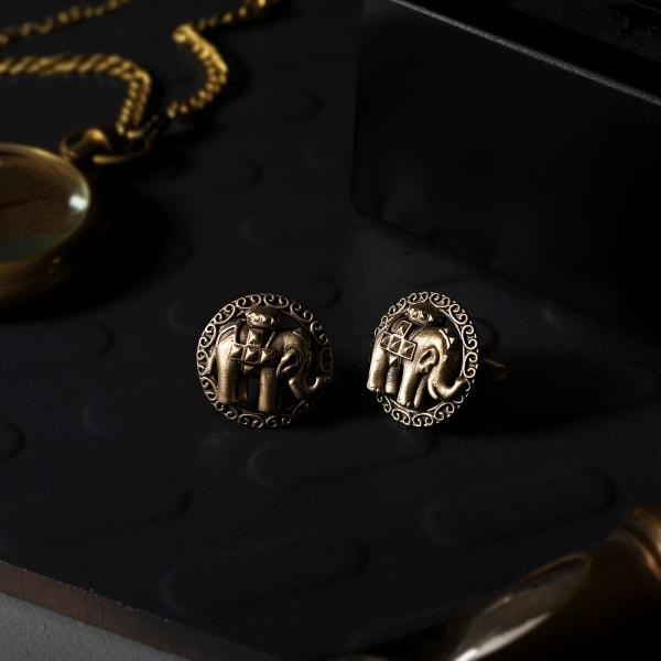Majestic Elephant Brass Cufflinks For Men