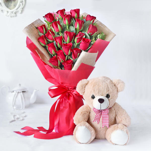 Majestic Red Rose Bouquet with Teddy Bear