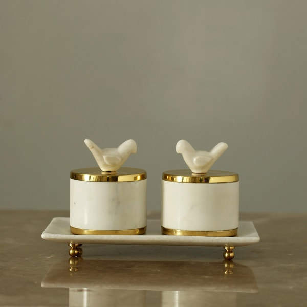 Marble Containers with Tray in Brass Work