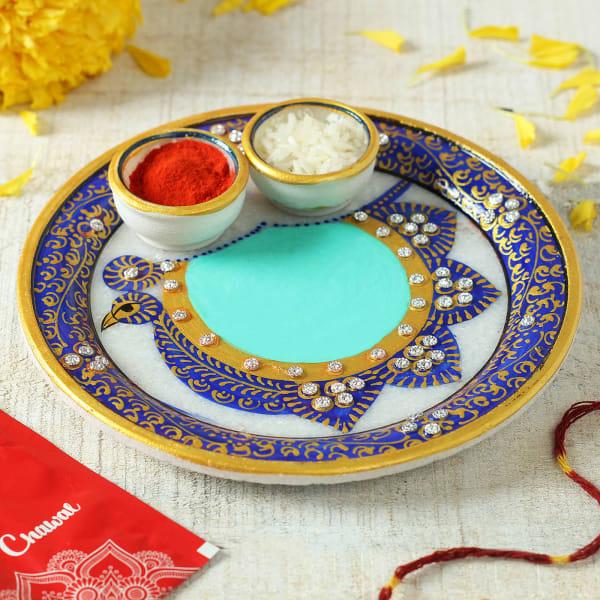 Marble Puja Thali With Roli and Moli