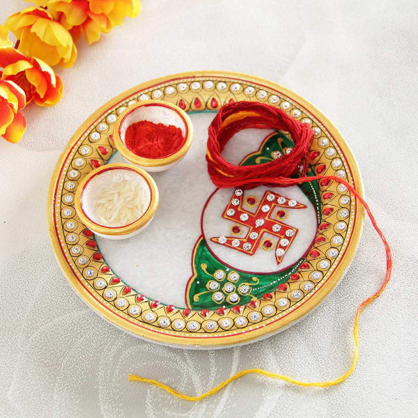 Marble Swasthik Designed Tikka Thali with Moli