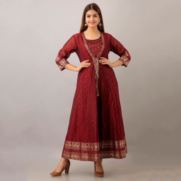Maroon And Gold Two-piece Kurta