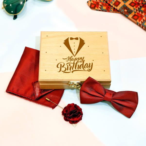 Maroon Bow Tie & Pocket Square Set for Birthday