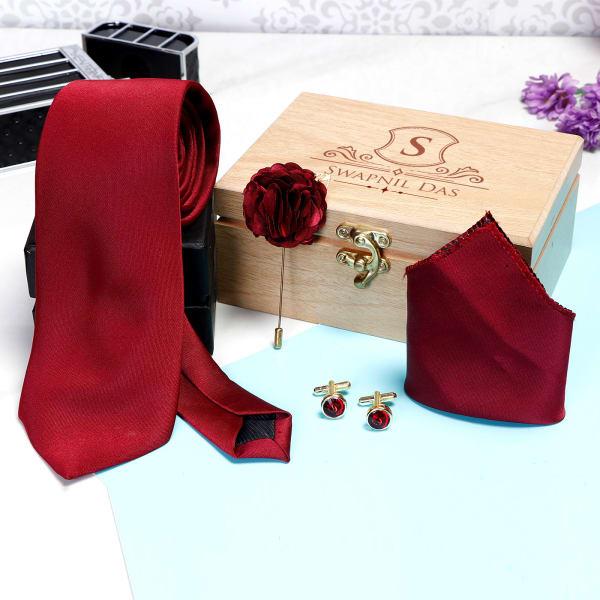 Maroon Necktie Set in Personalized Gift Box