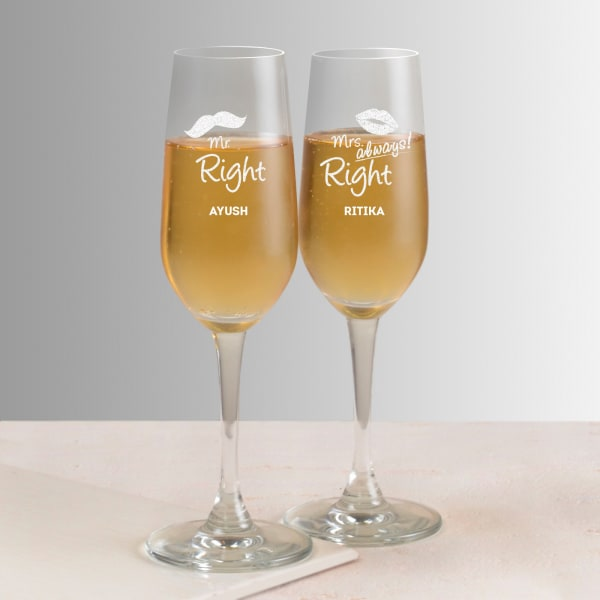 Married Couple's Personalized Champagne Glasses