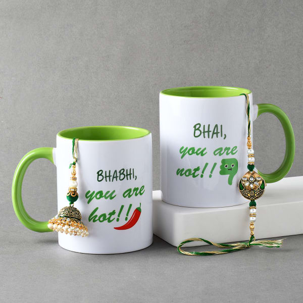 Meena Bhaiya Bhabhi Rakhi With Personalized Green Mugs