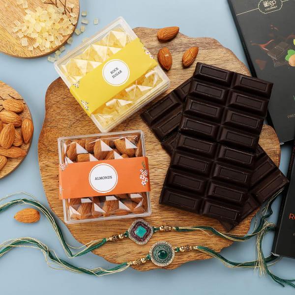 Meena Rakhi Set Of 2 With Chocolates And Almonds