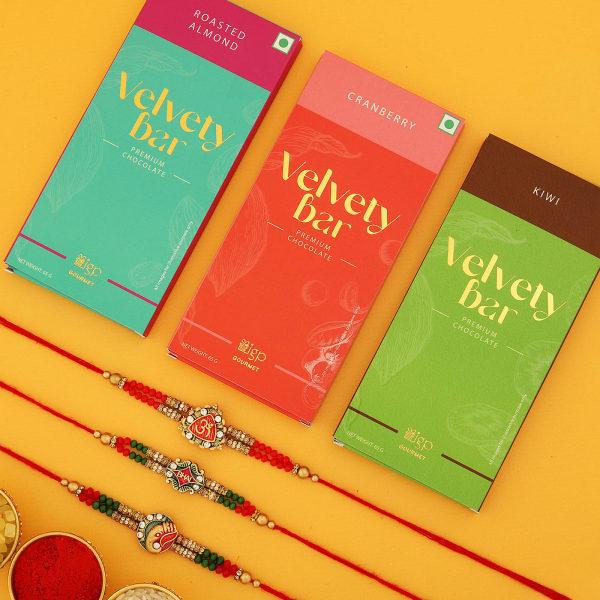 Meena Rakhi Set Of 3 With Chocolates