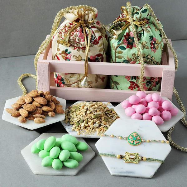 Meena Rakhis With Premium Goodies Basket