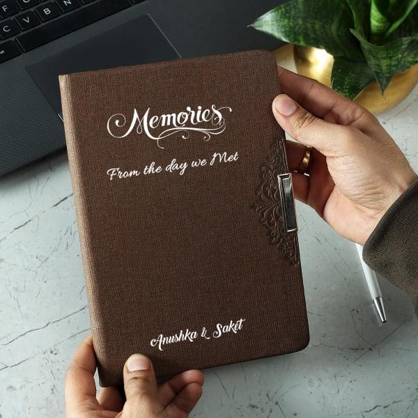 Memories Personalized Brown Diary